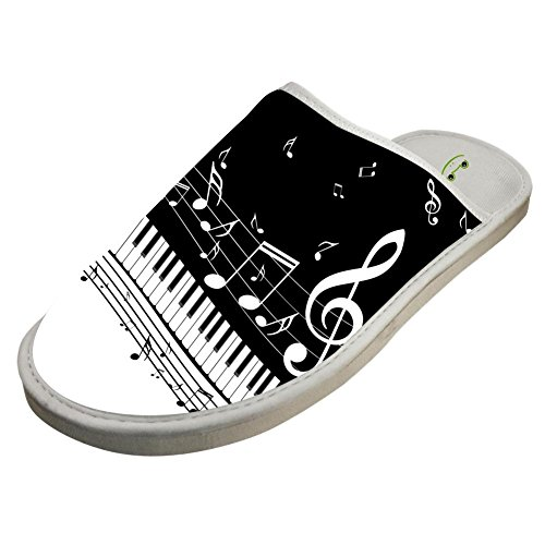 Slippers with Piano Note Music Custom Indoor Sandals Adults Shoes Flat Winter Sleeppers 11 B(M) US by JLL-HITOLY