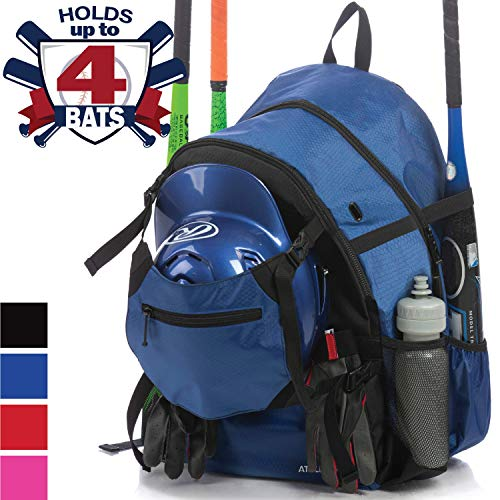 - Athletico Advantage Baseball Bag - Baseball Backpack with External Helmet Holder for Baseball, T-Ball & Softball Equipment & Gear for Youth and Adults | Holds Bat, Helmet, Glove, Shoes (Blue)