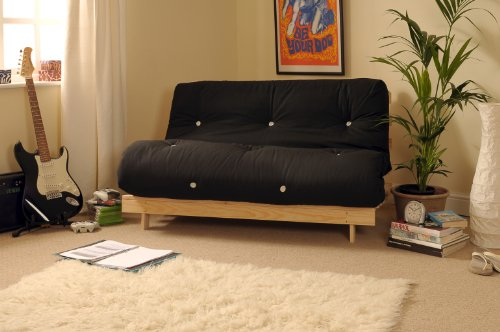 4ft6 (135cm) Double Wooden Futon with BLACK Mattress