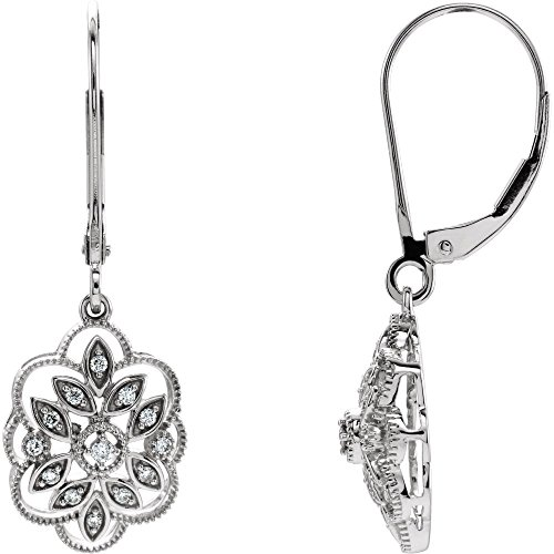 Jewels By Lux 14K White Gold Pair Polished 1/6 Ctw Diamond Granulated Filigree Earrings ()