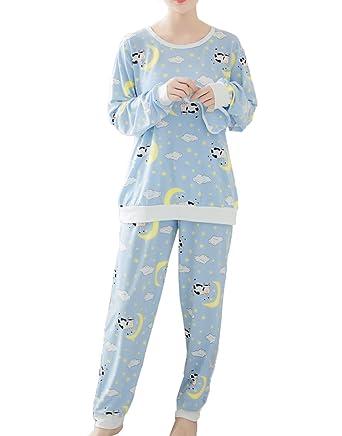 7d34a7b3d9d1 MyFav Teen Girls Soft Nightwear Funny Smiling Cow Star Moon Dreamy Pajama  Set