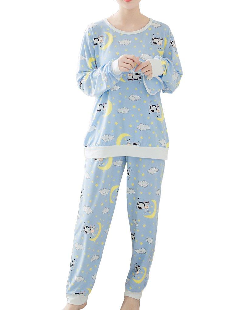 MyFav Teen Girls Soft Nightwear Funny Smiling Cow Star Moon Dreamy Pajama Set