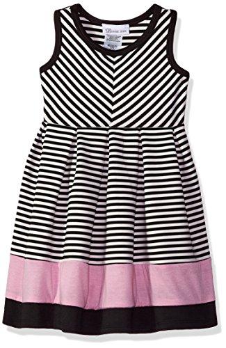Sundress Jean Bonnie - Bonnie Jean Girls' Little Fit and Flare Fashion Dress, Black/White/Pink, 5