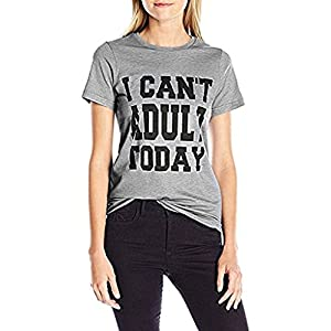 Women's Plus Size Letter Print I Can't Adult Today T Shirt Tops Tee Blouse Gray 2X Gray 2X