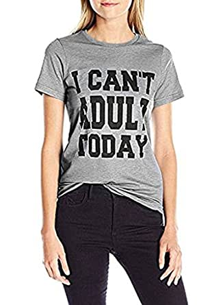 Women's Plus Size Letter Print I Can't Adult Today T Shirt Tops Tee Blouse Gray 1X Gray 1X