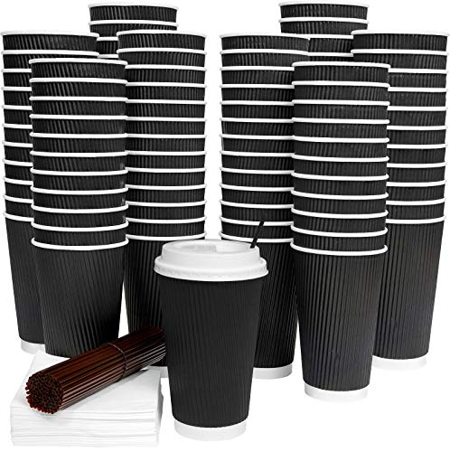 - Galashield 80 Pack Hot Paper Disposable Coffee Cups with Lids 16 Oz Ripple with Stirring Straws and Napkins