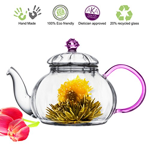 Pink Floral Glass (Tea Beyond Heat resistant Glass Teapot Juliet, 20-Ounce)