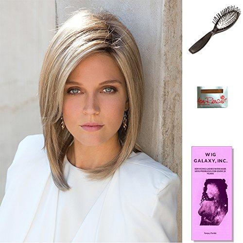 Jackson by Noriko, Wig Galaxy Hair Loss Booklet, Wig Cap, & Loop Brush (Bundle - 4 Items), Color Chosen: Strawberry Swirl by Noriko & Wig Galaxy
