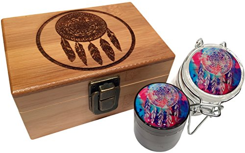"Dreamcatcher Grinder Stash Box Combo - Small Titanium 4 Part Grinder 2.0"" w/ Glass herb jar w/ labels inside Engraved Wood Bamboo Box (Dreamcatcher)"