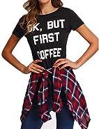 Haola Women's Casual Tops Summer Street Printed T-Shirt Short Sleeve Funny Tees