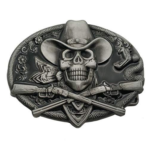 Pirate Rifle - Western Cowboy Skull Pirate Rifles Belt Buckle Black