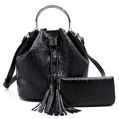 Black Faux Ostrich - 2 PC Set Ostrich Croco Embossed Vegan Faux Leather Cross body Bucket Handbag Purse with Matching Wallet (Black)