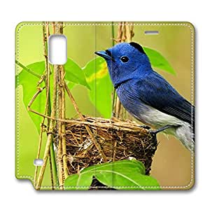 Galaxy Note 4 Case, Fashion PU Leather Folio Custom Protective Case Cover for Samsung Galaxy Note 4 Blue Bird Nest by icecream design