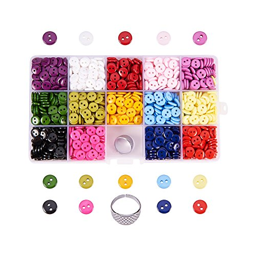 Buttons Bright (Pandahall Elite 1400PCS 14 Colors Resin Buttons 2 Hole Round Sewing Flatback Buttons for Sewing Art DIY Crafts with Thimble)