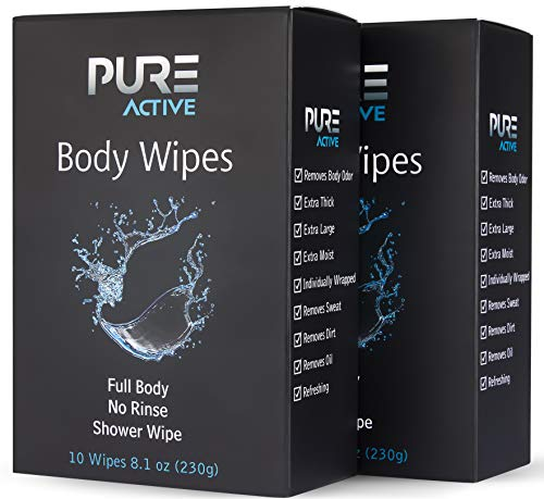 Shower Body Cleansing Wipes, 20 Individually Wrapped Personal Hygiene Body Wipes for Women and Men, Extra Large Extra Moist to Keep Clean After Gym Travel Camping Outdoors Sports 2 Pack