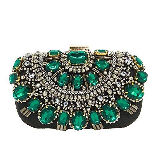 Women Green Bag Bag Evening Bag Banquet Messenger Handmade Bag Shoulder Fashion Chain Rhinestone Handbag Beaded Clutch Dinner Ladies 7wTq5z7