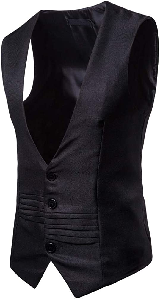 TOPGEE Mens Business Suit Vest,Slim Fit Skinny Wedding Waistcoat