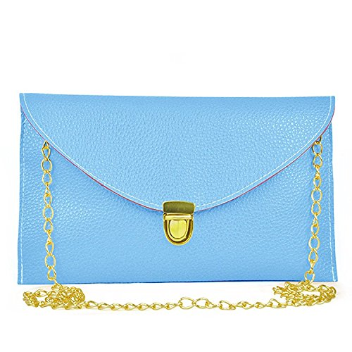 Messenger Light Lady Tote Clutch Blue HandBag Handbag Envelope R Chain Purse TOOGOO Orange Shoulder Women WwqxaP1OnU