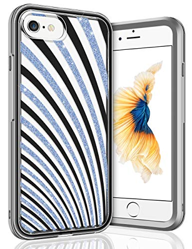 Vofolen Case for iPhone 6s Plus Case iPhone 6 Plus Case Heavy Duty Military Grade Drop Tested Hybrid Bumper Armor PC Hard Shell Stripe Protective Clear Cover for iPhone 6s Plus 6 Plus Black Blue
