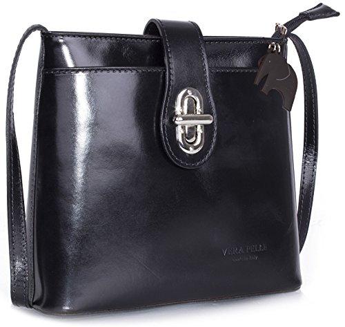 Handbag Black In kl586 Shop Vera A Di Big Pelle Piccola Italiana Tracolla Borsetta TxPw4qZzn