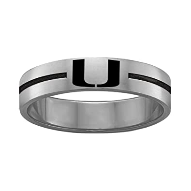 Amazon.com: Quad Logo Miami Hurricanes anillos acero ...