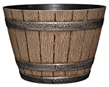 Whiskey Barrel Planter, Distressed Oak, 9' (Durable high density resin...