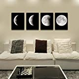 Features: Brand New and high quality Name:Modern Art Painting Theme:Moon Style:Modern/Fashion Material:Canvas Frames:Frameless Quantity:4 pcs Size(approximately ):30*40 cm/11.81*15.75 in Application:decoration for hotel/home/office building/o...