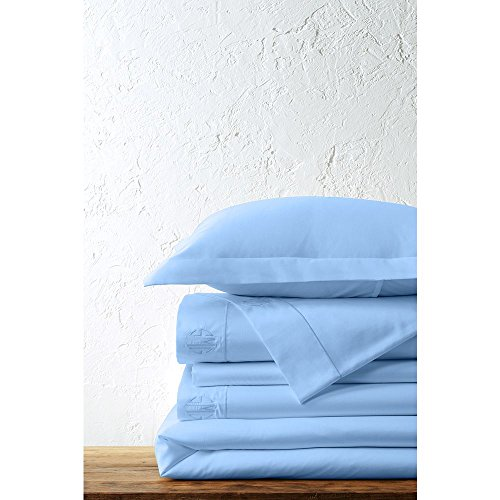 Price comparison product image Lands' End No Iron Supima Solid Duvet Cover, FQ, Light Lake Blue