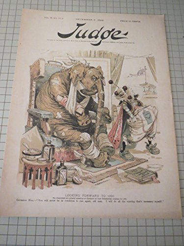 - 1888 Judge Lithograph of Bandaged Grover Cleveland Elephant & Liquor Interest Clown -