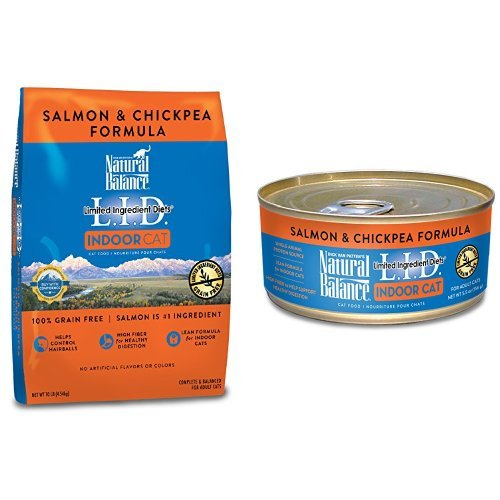 Natural Balance Limited Ingredient Diets For Indoor Cats, Salmon & Chickpea, Bundle: 10-Pound Bag Dry Cat Food And 24/5.5-Ounce Cans Wet Cat Food by Natural Balance