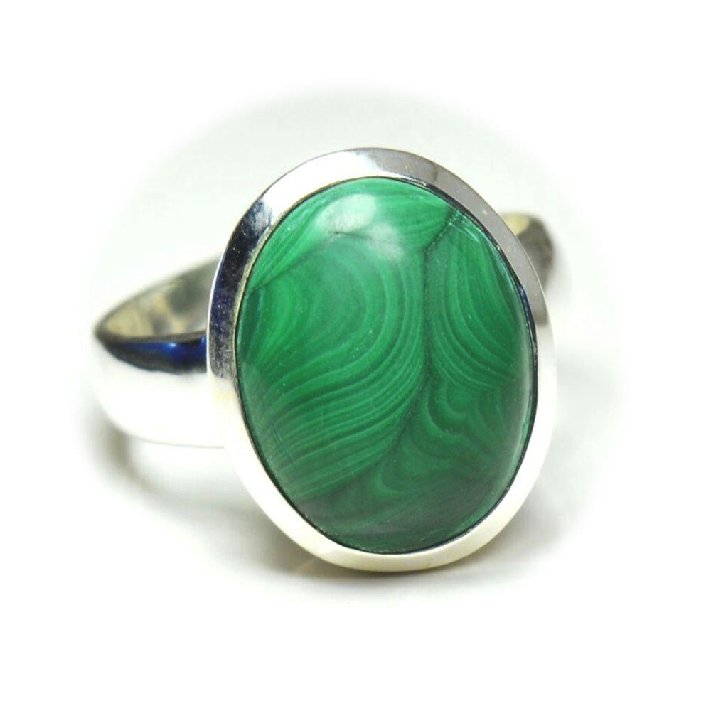 Jewelryonclick 4 Carat Natural Malachite Sterling Silver Adjustable Ring Size US 5,6,7,8,9,10,11,12,13