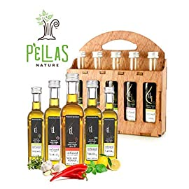 Pellas Nature | Fresh Organic Herbs Infused Greek Extra Virgin Olive Oil | 5 infused Flavors in French Glass bottles | Finishing oil | Wooden Gift Set | 5 X 1.7oz Each 33 ✅ ULTRA-PREMIUM QUALITY - Ultra Premium Extra Vigin finishing olive oil in designer French Fidji glass bottles. Product of Crete, Greece ✅ ORGANICALLY INFUSED - Infused with Fresh Organic Herbs and NOT with essential oils or any artificial flavors. No Solvents, No Pesticides , No Herbicides used in the manufacturing process ✅ UNMATCHED FLAVOR - Rich natural flavor and an increasingly authentic taste and aftertaste, characteristics sustainable over time
