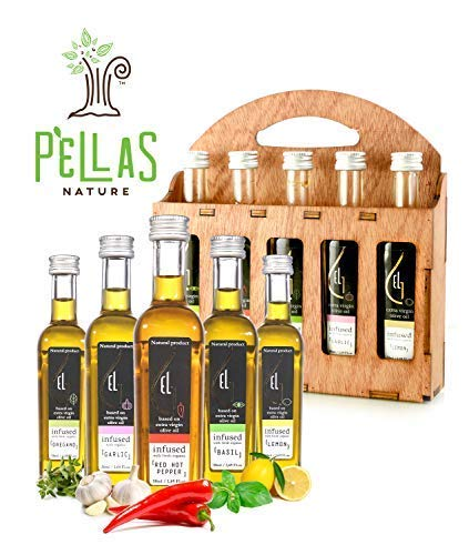 Organic Herbs Infused Greek Extra Virgin Olive Oil, 5 flavors - Basil, Lemon, Garlic, Red Pepper, Oregano in French… 1 ✅ ULTRA-PREMIUM QUALITY - Ultra Premium Extra Vigin finishing olive oil in designer French Fidji glass bottles. Product of Crete, Greece ✅ ORGANICALLY INFUSED - Infused with Fresh Organic Herbs and NOT with essential oils or any artificial flavors. No Solvents, No Pesticides , No Herbicides used in the manufacturing process ✅ UNMATCHED FLAVOR - Rich natural flavor and an increasingly authentic taste and aftertaste, characteristics sustainable over time