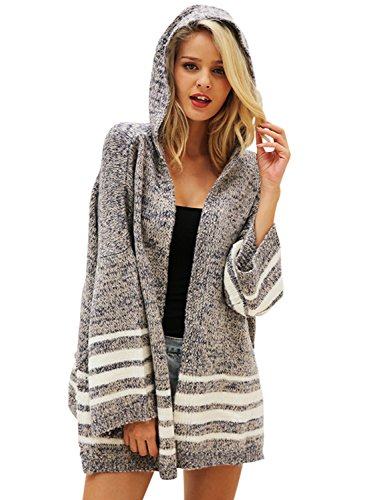 BerryGo Women's Flare SleeveKnittedHoodedCardiganSweater(Gray,One (Knitted Hooded Cardigan)