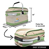 summerease Insulated Collapsible Picnic Basket With Extra Wine Bag By Lightweight & Foldable Cooler Bag For Grocery, Car, Camping, Hiking Or Laundry | Two Spacious Main Compartments