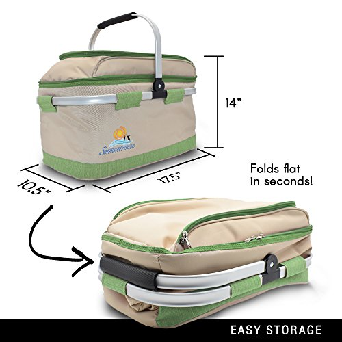 Insulated Collapsible Picnic Basket With Extra Wine Bag | Lightweight & Foldable Cooler Bag/ Picnic Baskets With Handles For Grocery, Car, Camping, Hiking Or Laundry | Two Spacious Main Compartments