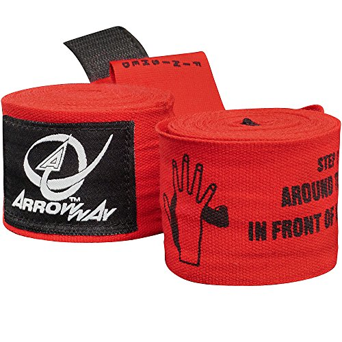 ArrowWay Instructional Hand Wraps w/Printed Directions for Boxing & MMA – 142″ Meister Elastic
