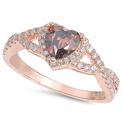 Rose Gold-Tone Champagne Simulated CZ Criss Cross Ring 925 Sterling Silver Band Size 9
