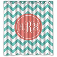 ADEDIY Home Decor Fashions Chevron With Monogram Waterproof Polyester Shower Curtain 66x72 Inches