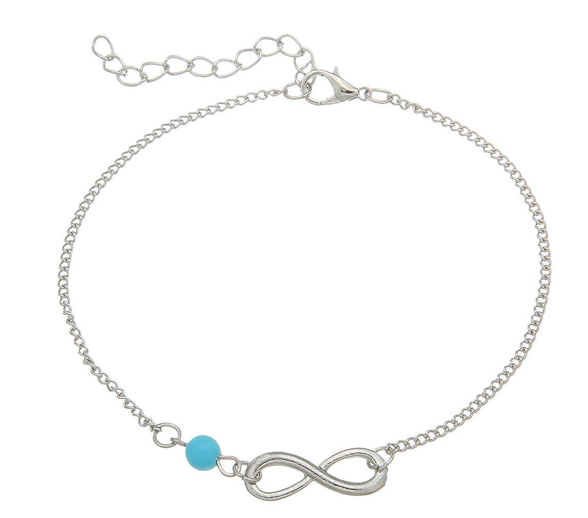 JTC Femmes Simple Chaîne Bracelet Cheville en Couleur D'argent avec Perle Bleu