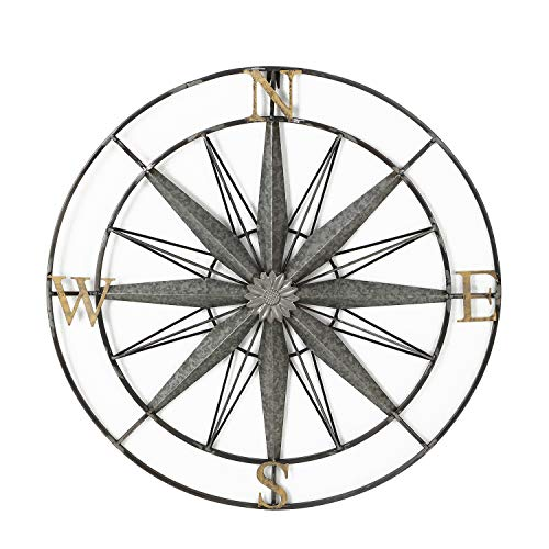 Adeco Decorative Compass Metal Wall Hanging Art Decor for Nature Home Art -