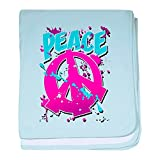 Royal Lion Baby Blanket Peace Symbol Sign Splatter Neon - Sky Blue