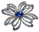 L. Erickson Crystal Clover Brooch - Sapphire/Light Sapphire/Aquamarine/Antique Silver