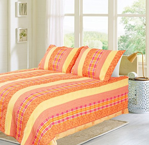 Cozy Line Home Fashions Hawaii Fruit Passion Vivid Orange Pineapple Yellow Coral Plaid Grid Summer Bedding Quilt Set, Reversible Coverlet Bedspread, 100% Cotton (Vivid Orange Multi, Twin - 2 Piece)