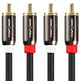 FosPower (3 Feet) 2 RCA M/M Stereo Audio Cable [24K Gold Plated | Copper Core] 2RCA Male to 2RCA Male [Left / Right] Premium Sound Quality Plug