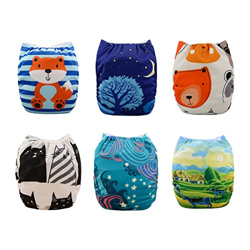 (Babygoal Baby Pocket Cloth Diapers, Adjustable Reusable Nappy 6pcs+ 6 Inserts+One Wet Bag 6YDB07)