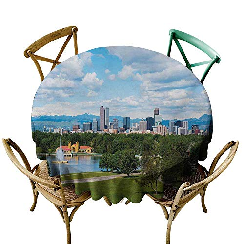 SKDSArts Table Cover for Dinner KitchenUrban,City Park at Denver Colorado Downtown Tree and Architecture Sunny Panorama,Sky Blue Fern Green D36,Table in Washable Polyester ()