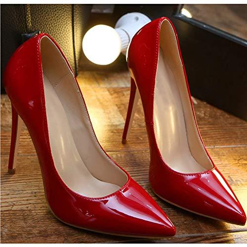 Stiletto Fermé Gtagain Demoiselle Simple Bureau Mode Femme D'affaires Bout D'honneur Classique Escarpins Peu Pointé Mariée Profonde Rouge Bouche wwrq5YU