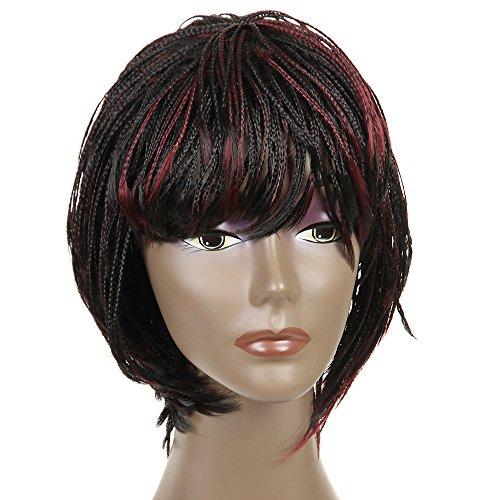 FeiBin Synthetic Box Braid Wigs African American Bob Braided Wigs (Color 1B/BUG)]()