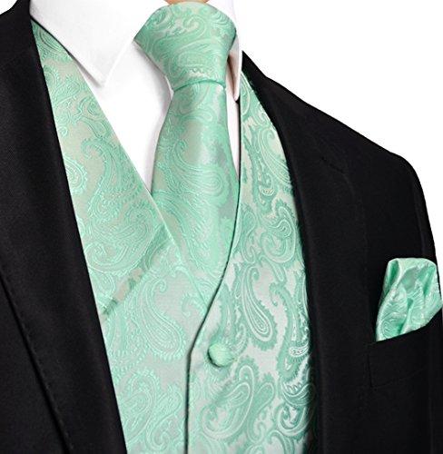 Men's 3pc Paisley Design Dress Vest Tie Handkerchief Set For Suit or Tuxedo (L (Chest 44), Mint Green)